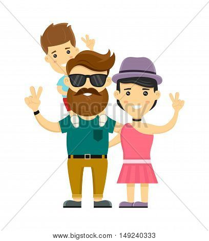 Young hipster happy family. Flat design vector illustration character. Isolated on white background. Mother father little son
