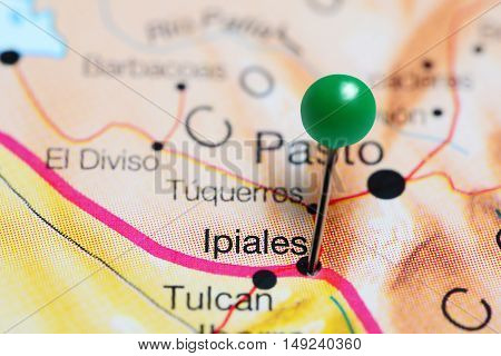Ipiales pinned on a map of Colombia
