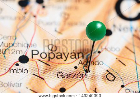 Garzon pinned on a map of Colombia