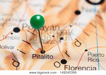 Pitalito pinned on a map of Colombia