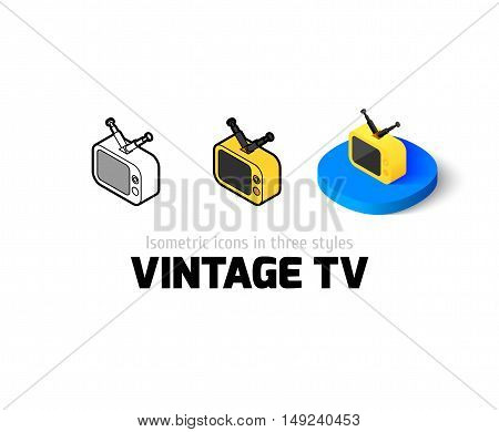 Vintage TV icon, vector symbol in flat, outline and isometric style