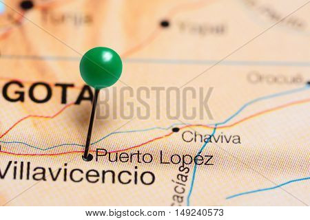 Puerto Lopez pinned on a map of Colombia