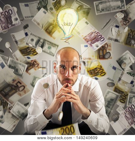 Man with light bulb over his head and money background
