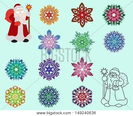 Two Santa Claus in different styles color and contour and a set of isolated colored snowflakes. Vector illustration.