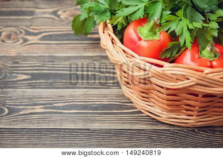 Fresh farmers garden vegetables on wooden table. Top view with copy space. Thanksgiving day concept