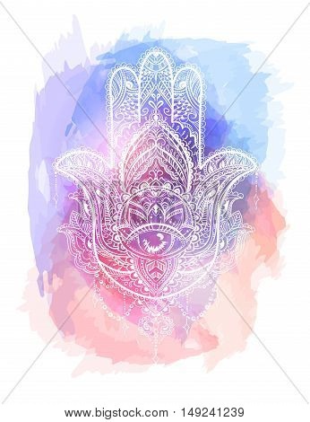 Hand drawn Ornate amulet Hamsa Hand of Fatima.Tattoo design. Ethnic amulet common in Indian Arabic and Jewish cultures.