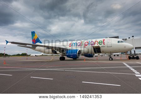 Berlin, Germany - September 20. 2016: Aircrafts of low cost airline company Small Planet in Schonefeld Airport