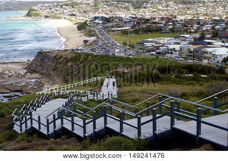 Anzac Memorial Walk leading down to Bar Beach, Newcastle, Australia.