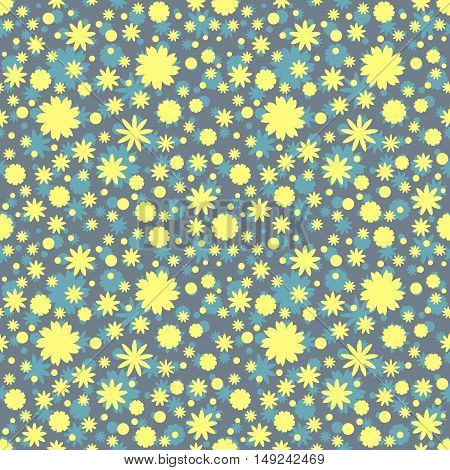 Seamless pattern with yellow, blue flowers stars dots on gray background. Vector illustration.
