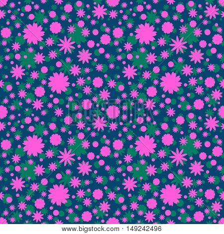 Seamless pattern with green, pink little flowers stars circles on navy blue background. Floral background. Vector illustration.