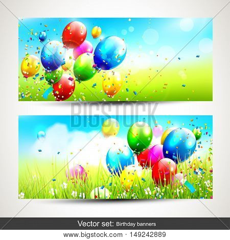 Vector set of two horizontal birthday banners