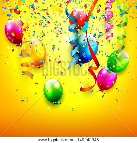 Birthday background with colorful confetti and balloons