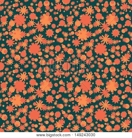 Seamless pattern with orange red ditsy flowers dots on dark green background. Floral background. Vector illustration.