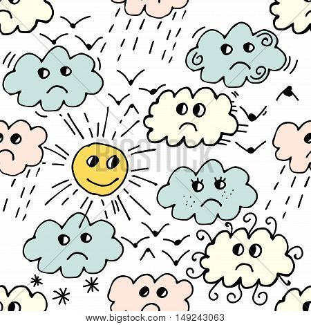Seamless pattern with sun, cloud, rain, bird on white background. Cartoon weather background. Vector illustration.