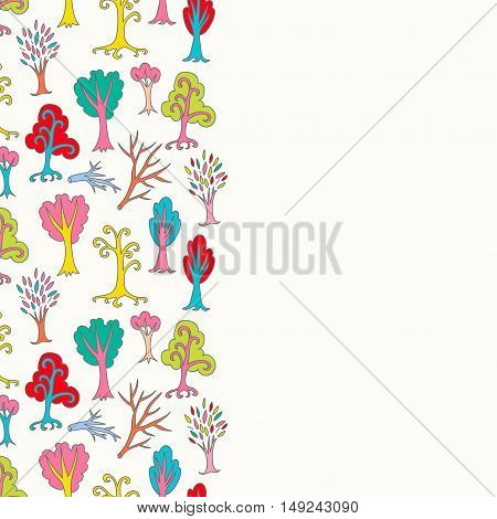 Colorful seamless leaflet with cartoon doodle trees and branches with empty space. Hand drawn forest background. Cartoon woodland. The best for design, textile, fabric, wrapping paper, kids. Vector illustration.