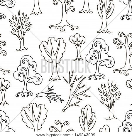 Black and white doodle seamless pattern with different trees and branches. Hand drawn infinity forest background. Cartoon woodland. The best for design, textile, fabric, wrapping paper, kids. Vector illustration.