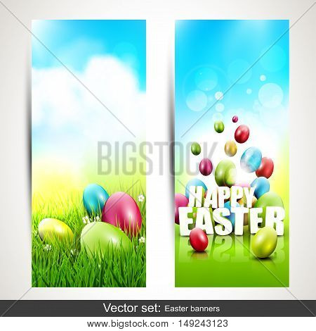 Vector set of two vertical Easter banners