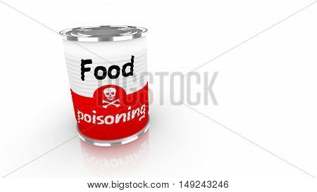 Tin can with a label saying food poisioning and a skull isolated on white 3D concept illustration