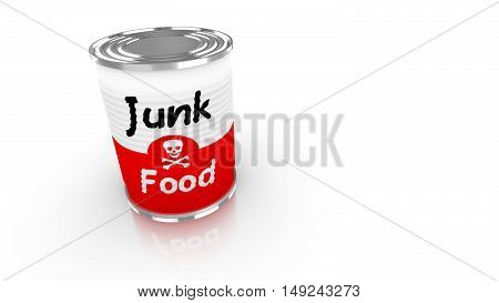 Tin can with a label saying junk food and a skull isolated on white 3D concept illustration
