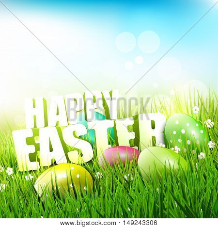 Easter greeeting card with inscription in the grass
