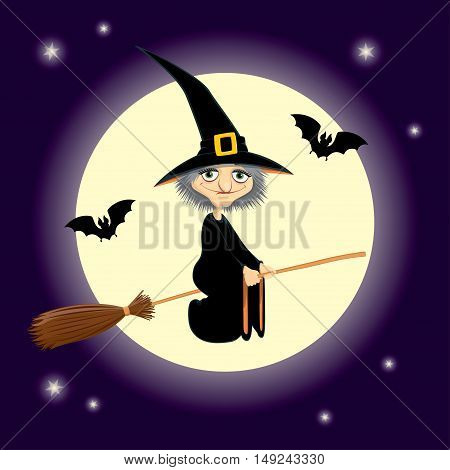 Vector Halloween illustration of a cute cartoon witch flying on a broomstick. Dark purple night sky with shiny moon and stars on the background. Square format.