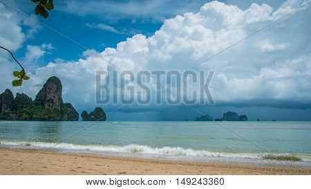 Rainy Clouds on Railay Beach in Krabi Thailand. Asia.