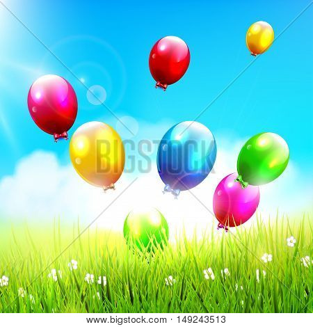 Colorful balloons flying on the spring field