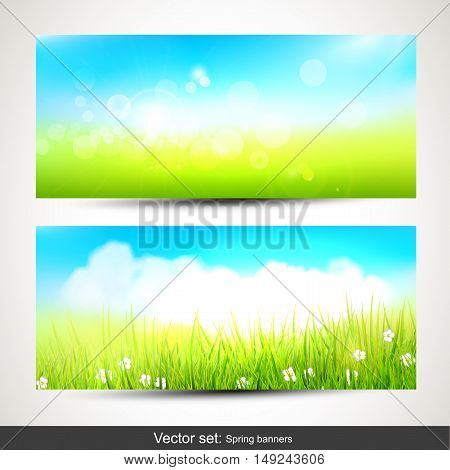Vector set of two horizontal spring banners