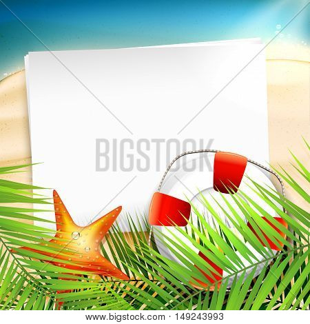 Summer holiday background with palm leaves life buoy and empty paper on the beach