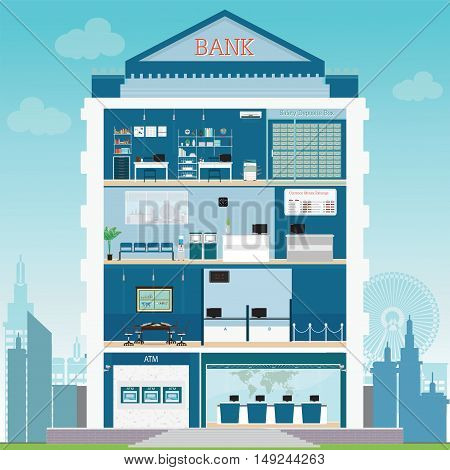 Bank building exterior and interior with counter desk cashier consulting money currency exchange financial services ATM and safety deposit box vector illustration.