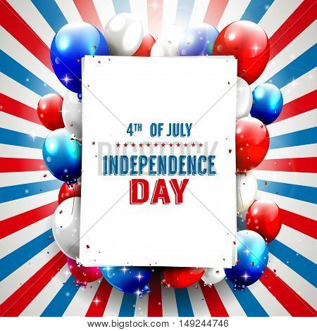 Independence day - vector background with red and blue balloons