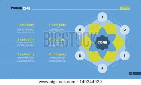 Venn diagram with six circles. Element of presentation, diagram, layout. Concept for business templates, infographics, reports. Can be used for topics like strategy, marketing analysis, planning