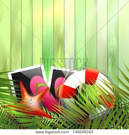 Summer holidays poster with photo framesflip-flopspalm leaves and place for text