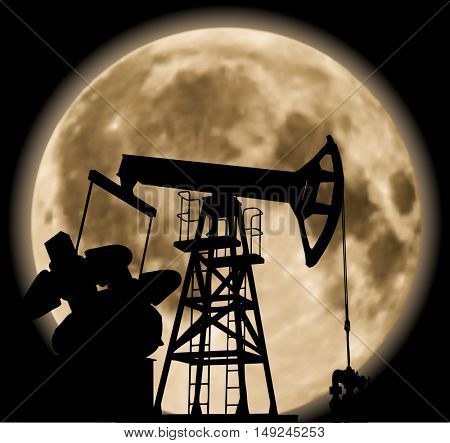 Working pump jack in deserted district in the bright of the moon. Vector illustration EPS 8.