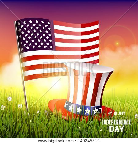 Independence day - vector background with American flag and hat in the grass
