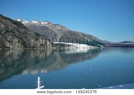 Approaching Margerie Glacier in Glacier Bay, Alaska on a clear summer day
