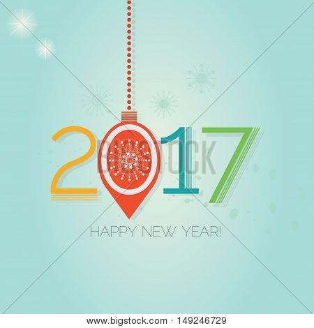 Happy New Year 2017 - Abstract hanging Christmas ornament on blue gradient background