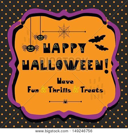 Cute Happy Halloween emblem greeting card on polka dots pattern background