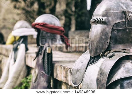 Reconquest warriors armour elements and suits. Moorish and christian warriors. Vintage filtered