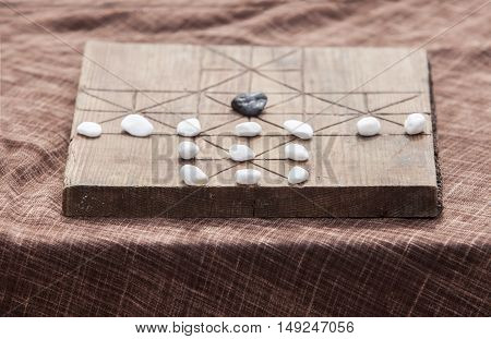 Spanish medieval board game. Selective focus. Replica