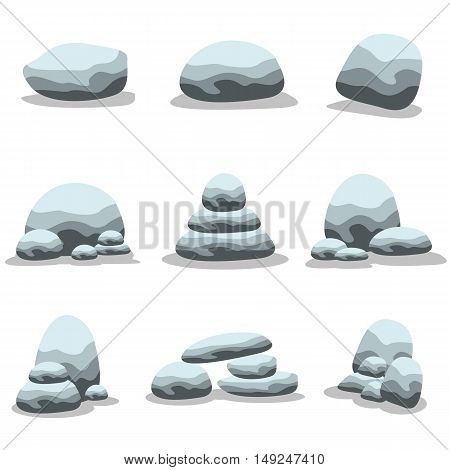 Set of natural stones collection vector art illustration
