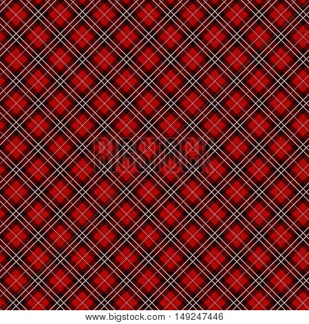 Seamless red checkered fabric pattern / background / texture