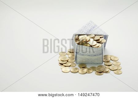 Gold coins in house and pile of gold coins on white background.