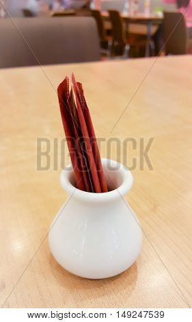 Toothpick on table. Packed toothpick on table