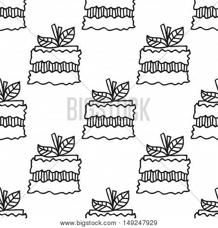 Black and white seamless pattern with cakes for coloring books. Illustration of desserts and pastry.