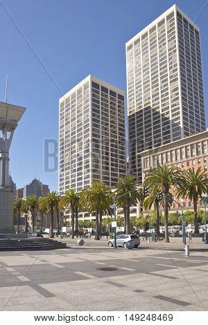San Francisco California street scene on a main throughfare downtown.