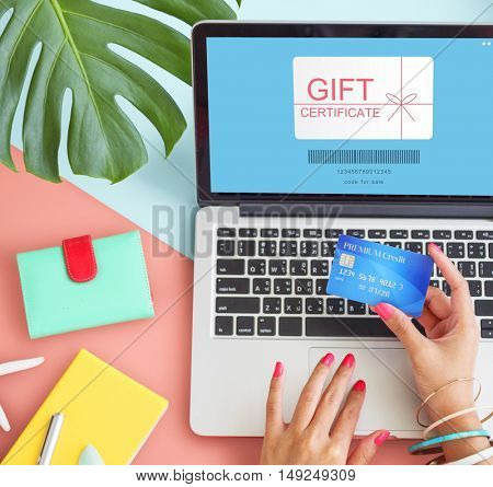 Gift Certificate Coupon Shopping Concept