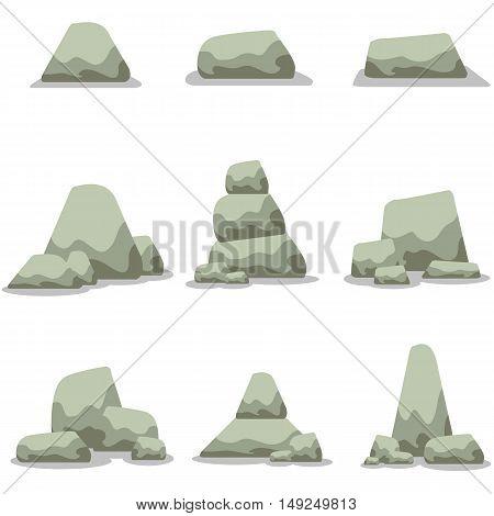 Stone set collection stock vector art illustration