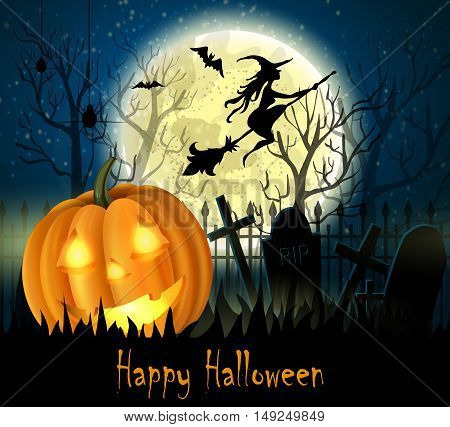 Halloween spooky background with moon fence and pumpkin. Vector