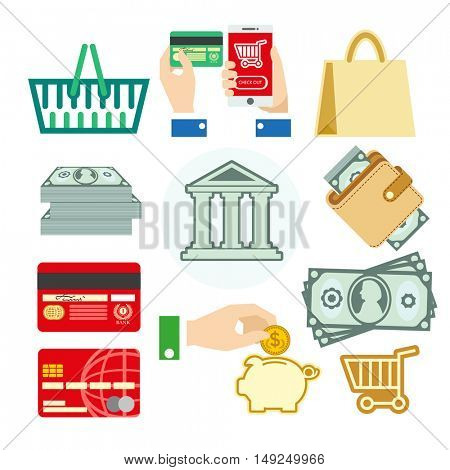 Vector finance set of banking icons for business: cash and coins, card and money box, cart and bag. Bank concept illustrations in flat design. Isolated on white background